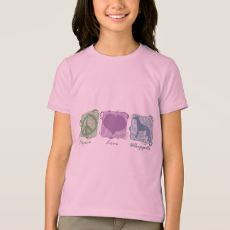 Pastel Peace, Love, and Whippets Child's Shirt