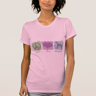 Pastel Peace, Love, and Whippets T-shirts