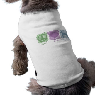 Pastel Peace, Love, and Xoloitzcuintlis Sleeveless Dog Shirt