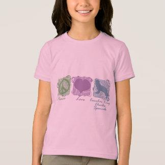 Pastel Peace, Love, Cavalier King Charles Spaniels T-Shirt