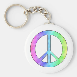Pastel Peace Sign Basic Round Button Key Ring