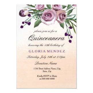 Pastel Peach Ombre Purple Rose Quinceanera Invite