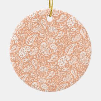 Pastel Peach Paisley Round Ceramic Decoration