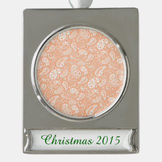 Pastel Peach Paisley Silver Plated Banner Ornament
