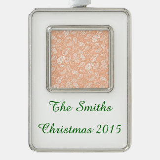 Pastel Peach Paisley Silver Plated Framed Ornament