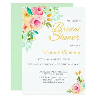 Pastel Peach Pink Roses Bridal Shower Card