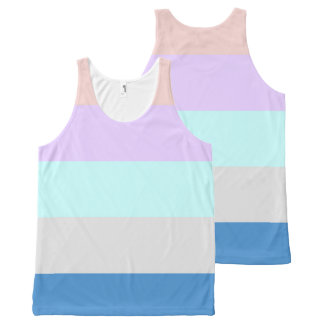 pastel peach purple mint grey blue color block All-Over print tank top