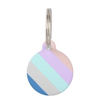 pastel peach purple mint grey blue color block pet name tag