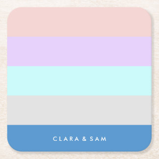 pastel peach purple mint grey blue color block square paper coaster