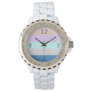 pastel peach purple mint grey blue color block watch