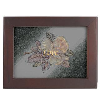 Pastel peach rose on grey black floral wedding memory box