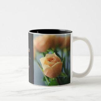 Pastel Peach Roses Two-Tone Mug