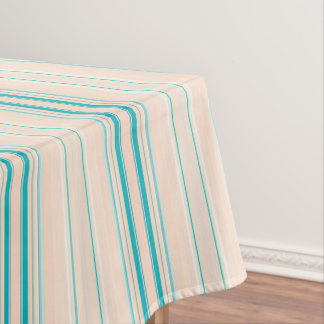 Pastel Peach & Teal Stripes beige Tablecloth