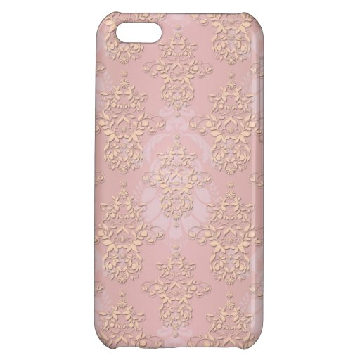 Pastel Peachy Damask iPhone 5C Cases