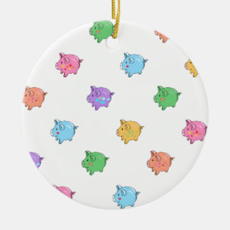 Pastel Pig Pattern Double-Sided Ceramic Round Christmas Ornament
