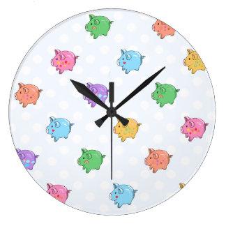 Pastel Pig Pattern Large Clock