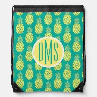 Pastel Pineapples | Monogram Drawstring Bag