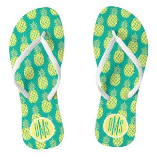 Pastel Pineapples | Monogram Flip Flops