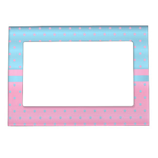 Pastel Pink and Baby Blue Polka Dots Photo Frame Magnets