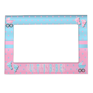 Pastel Pink and Baby Blue Polka Dots - Twins Photo Frame Magnets