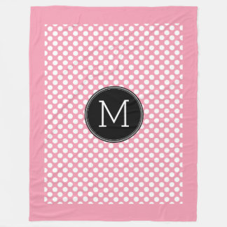 Pastel Pink and Black Polka Dots Custom Monogram Fleece Blanket