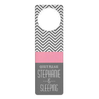 Pastel Pink and Charcoal Gray Chevron Patterns Door Hanger