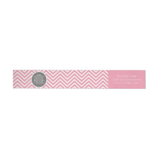 Pastel Pink and Gray Chevron Pattern Monogram Wrap Around Label