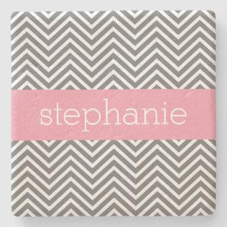Pastel Pink and Gray Chevrons Custom Name Stone Coaster
