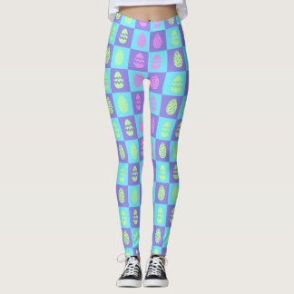 Pastel Pink and Green Easter Egg Checkerboard Leggings