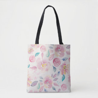 Pastel Pink and Purple Floral Pattern Tote Bag
