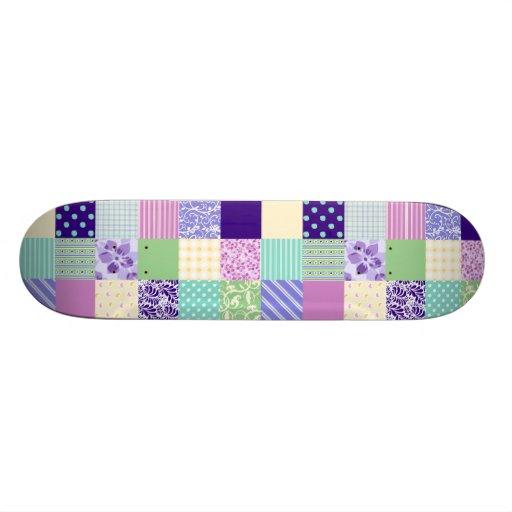 Pastel Pink and Purple Girly pattern squares Skateboard