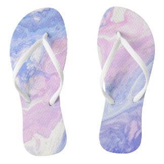 Pastel Pink and Purple Marble Flipflops