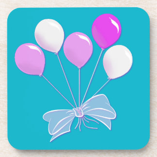 Pastel Pink and White Balloons Drink Coaster