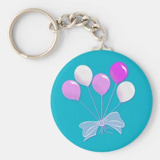 Pastel Pink and White Balloons Key Ring