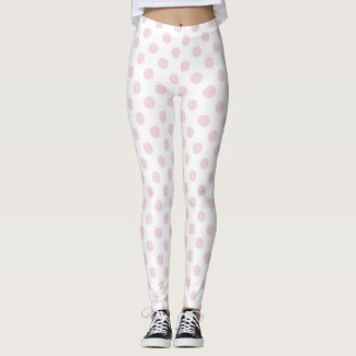 Pastel Pink and White Polka Dots Pattern Leggings