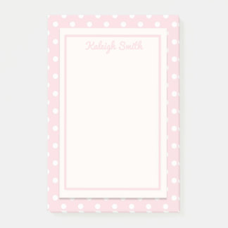 Pastel Pink and White Polka Dots Post It Notes