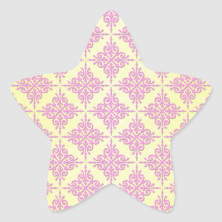 Pastel Pink and Yellow Girly Damask Pattern Star Stickers