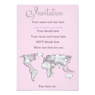 Pastel pink atlas 13 cm x 18 cm invitation card