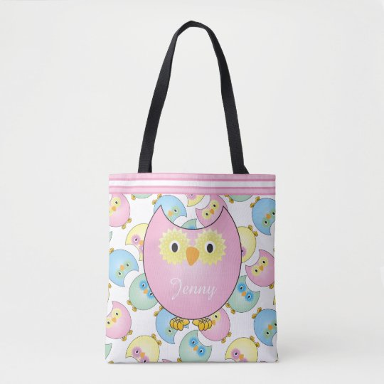 Pastel Pink Baby Owls Tote Bag