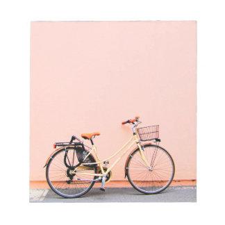 Pastel Pink Bike Basket Bicycle Two Wheel Notepad
