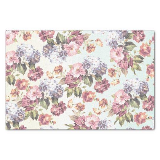 Pastel pink blue bohemian boho vintage floral tissue