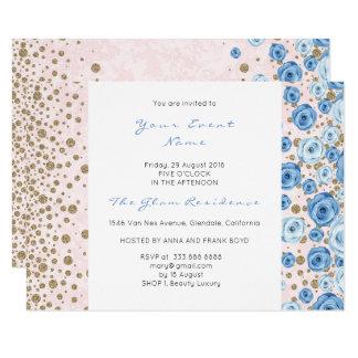 Pastel Pink Blue Confetti White Glitter Dots Roses Card