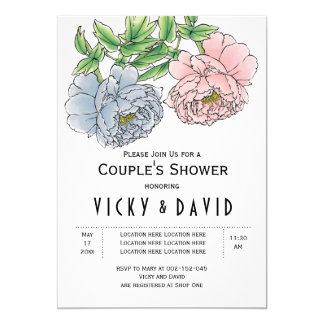 Pastel pink & blue peonies wedding couples shower 13 cm x 18 cm invitation card