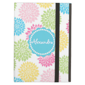 Pastel Pink, blue, Yellow Dahlia flowers name iPad Air Case
