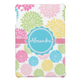 Pastel Pink, blue, Yellow Dahlia flowers name iPad Mini Cases