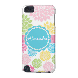 Pastel Pink, blue, Yellow Dahlia flowers name iPod Touch 5G Covers