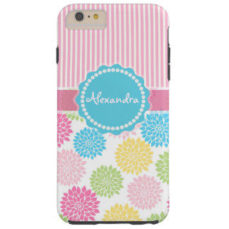 Pastel Pink, blue, Yellow Dahlia flowers name Tough iPhone 6 Plus Case