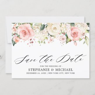 Pastel Pink Blush Rose Floral Botanical Wedding Save The Date