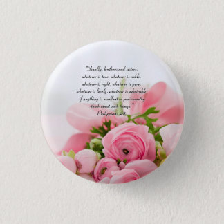 Pastel Pink Bouquet of Flowers Bible Verse 3 Cm Round Badge