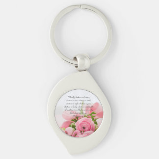 Pastel Pink Bouquet of Flowers Bible Verse Key Ring